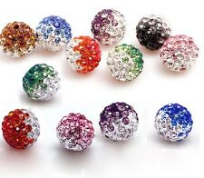 10mm 500pcs mixed Gradient Rhinestone Round Charm Crystal Shamballa beads