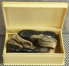 1921 Child's baby high button shoes in period Celluloid box with hinged lid