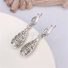 18K White Gold Filled Hypo-Allergenic Filigree Drop Dangle Earrings Z025