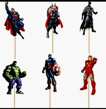 12 X Avengers Cake Picks,Cupcake Toppers  Birthday Party Decoration Superhero 45
