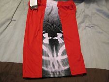 NEW Boys UNDER ARMOUR Basketball/Athletic Shorts Red/Blk/Wht Yxs 7 FREE SHIP