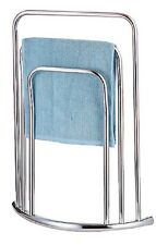 CHROME 3 TIER 3 BAR BOW FRONTED CURVED FREE STANDING TOWEL RAIL STAND  BC82