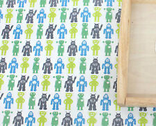 Green robots 100% Cotton Remnant  fabric 110 x 22.5 cm Quilting fabric off cut *