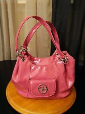 SAG HARBOR SHINY PINK FAUX LEATHER MEDIUM SATCHEL BAG PURSE