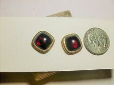 FABULOUS RUBY RED GLASS CUFFLINKS---KREMENTZ ROLLED GOLD----1940,s-----VINTAGE