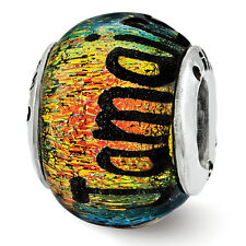 Jamaica Orange Dichroic Glass Bead .925 Sterling Silver Reflection Beads