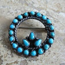 Native American zuni classic petite point sterling silver turquoise pin brooch