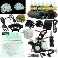 Beginner Tattoo Kit Set One Machine Gun 7 Color Ink Power Supply For Body Tattoo