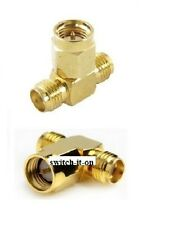 SMA T Connector Antenna Adapter SMA Male to SMA Female Gold Plated F52784K
