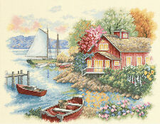 Cross Stitch Kit ~ Dimensions Peaceful Lake House and Boats #35230