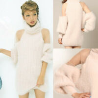 NEW Sexy Lady Sheer Mesh Fluffy Warm Chunky Sweater Polo Neck Long Knit Jumper C