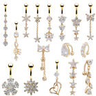 18K Gold Plated Clear Crystal Sexy Navel Bar Button Ring Belly Piercing Jewelry