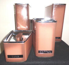 Vintage Coppertone Canister Set - 4 - Lincoln BeautyWare--tight fitting lids