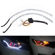 2x 8LED Switchback LED Lampe Flexible Strip DRL Tagfahrlicht Leuchte Weiß+Amber