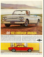 1963 vintage ad for Corvair Monza automobiles, white convertable -3019