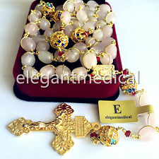 plated 14K gold Wire 10mm Pink Quartz Beads 5 DECADE Rosary CROSS Necklace Box