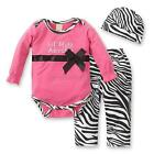 3PCS Set Cotton Romper + Long Pants + Hat Outfis Clothes 0-3Y for Baby Girl B66