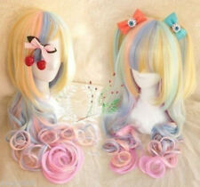 Long Curly Wavy Hair Full Wigs Cosplay Party Rainbow Colors