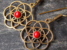 Seed/ Flower Of Life Brass, Coral Earrings Sacred Geometry (E32c)