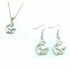 free shipping 1set of Browning Deer with LOVE Necklace & earrings Fashion white