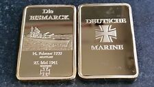 DIE BISMARCK 1939 Tedesco Oro Bar Souvenir DEUTCHE Marine Cross