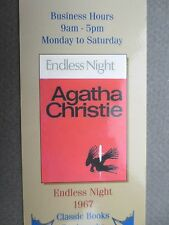 BOOKMARK AGATHA CHRISTIE ENDLESS NIGHT 1967 Book Cover Wallace & Scott Books