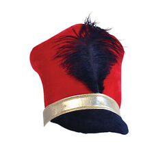 Adulte noir rouge & or jouet soldat majorette chapeau little drummer boy fancy dress