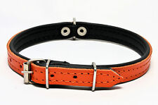 REAL LEATHER TOP & BOTTOM DOG PUPPY COLLAR PADDED Handmade , HIGHT QUALITY