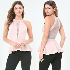 BEBE PINK LACE INSET PONTE PEPLUM NEW NWT $79 TOP SHIRT XSMALL XS