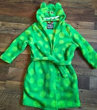 Primark Boys Green Fleece Hooded Monster Dressing Gown Bath Robe 6 - 7 Yrs