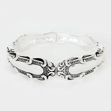 Spoon Stretch Bracelet Vine Design Handle Swirl Metal SILVER Filigree Jewelry