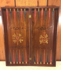 Vintage Wood Folding Game Board Chess Backgammon Checkers Folk Art Piece