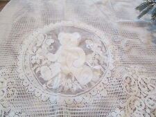 CREAM EYELET CURTAINS~  TEDDY BEAR ~ PAIR OF TIERS