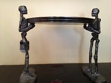 STANDING metal SKELETONS BONES HOLDING LARGE PLATTER TRAY Haunted Decor NWT