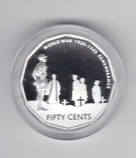 2005 50 Cent Silver Proof Coin World War 1939 1945 Remembrance ex Fine Set