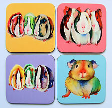Set of four colourful GUINEA PIG coasters by artist Maria Moss