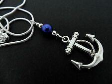 A BLUE PEARL BEAD AND ANCHOR THEMED PENDANT NECKLACE. NEW.