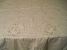 VTG WHITE COTTON BANNQUET WEDDING TABLECLOTH CUTWORK EMBROIDERY