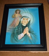 ST FAUSTINA and DIVINE MERCY FRAMED  8 x 10 Jesus I Trust In You Poland