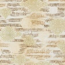 Kaufman All That Jazz Metallic 15235 15 Ivory Music Notes by the yard