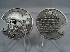 Motorcycle Rider Creed Challenge Coin US Military Opener Skull Iron Cross Biker