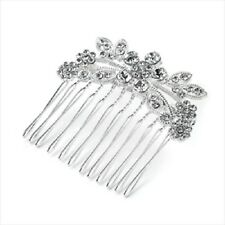 bridal DIAMANTE HAIR COMB GRIPS CLIPS SLIDES,flower WEDDING,CRYSTAL ha25831