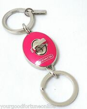 NWT Coach Pink Oval Valet Turn lock Key Fob Chain Key Ring Silver Enamel 61292
