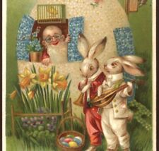 NEAR MINT..! MUSICAL RABBITS SERENADE GNOME IN EGG HOUSE,VINTAGE EASTER POSTCARD