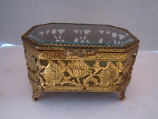 Vintage Brass Filigree & Beveled Glass Jewelry Box. Vanity. Floral. 5x4.5""