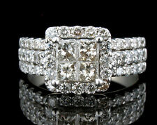 ZALES NATURAL 2.30ctw PRINCESS QUAD INVISIBLE SET 14K WEDDING WHITE GOLD RING