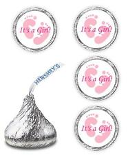 108 ITS A GIRL PINK FOOTPRINTS BABY SHOWER PARTY KISSES LABELS WRAPPERS FAVORS