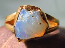 Gold plated brass everyday rough Ethiopian Opal ring UK O¾-P/US 7.75