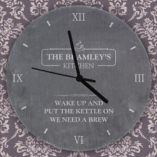 Personalised Famil Kitchen Slate Clock  New Home Anniversary Design Gift Ideas