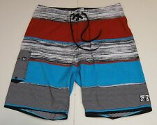 30 Mens Body Glove Board Swim Shorts Blue Red Black Stripe 100% Polyester EUC